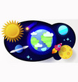 cartoon colorful poster futuristic space paper vector image vector image