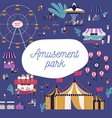 cartoon tiny people spending time at amusement vector image