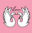 couple swans lover kissing cartoon vector image vector image