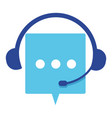 customer support service headset and chatting box vector image
