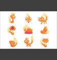 cute cartoon red kitten character in different vector image vector image