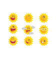 cute cartoon sun emojis emotional face set of vector image vector image