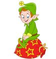 cute cartoon xmas elf vector image vector image