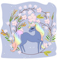 cute unicorn cartoon in floral frame vector image vector image