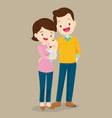 dad and mom with cute baby vector image vector image