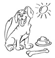 dog with bone and bowl vector image vector image