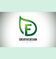 e leaf logo letter design with green leaf outline vector image vector image