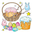 easter set easter cake with willow branches in a vector image