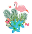 flamingos and flowers vector image