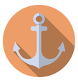 Flat design modern of anchor icon with long shadow vector image vector image