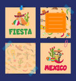 flat mexico note cards set vector image vector image