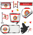 glossy icons with flag of bergen norway vector image