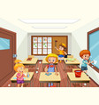 group people cleaning classroom vector image vector image
