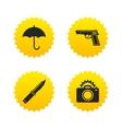 Gun weapon Knife umbrella and photo camera vector image vector image
