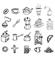 hand-drawn outlines on coffee and tea cup cafe vector image