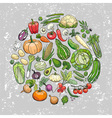 hand drawn vegetables background vector image