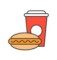 hot dog and soft drink food and gastronomy set vector image
