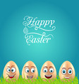 humor easter card with crazy eggs on grass meadow vector image vector image
