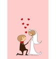 Invitation card Groom and bride with flying hearts vector image vector image