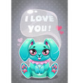 Little cute cartoon sitting bunny saying i love