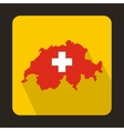 Map and flag of Switzerland icon flat style vector image vector image