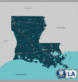 map of state louisiana usa vector image vector image