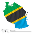 Map of Tanzania with flag vector image vector image