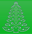 patterned christmas tree with snowflakes carved vector image vector image
