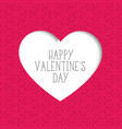 pink valentines day background with paper cut vector image vector image