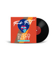 realistic vinyl record with cover mockup disco vector image vector image