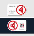 red business card with megaphone icon vector image vector image