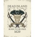 retro banner with pirate skull and old map vector image