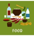 Russian traditional cuisine and food icons vector image