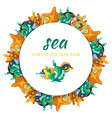 sealife round banner design - banner with cartoon vector image