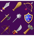 set cartoon weapon icons vector image