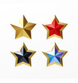 set golden realistic stars red set isolated on vector image