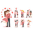 set of characters cartoon cute couple of lover vector image