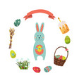 set of flat style easter decoration elements vector image vector image