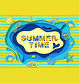 summer typography design with abstract paper cut vector image vector image