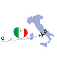 travel to italy airplane vector image vector image