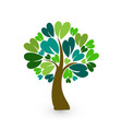 tree with heart leafs logo vector image