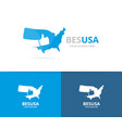 usa and like logo combination america vector image vector image