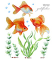 Watercolor collection of hand drawn goldfishes vector image vector image