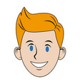 young guy people face character image vector image