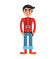 young hipster man with camera cartoon character vector image vector image
