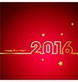 Golden 2016 New Year with stars on red background vector image