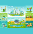 eco set recycling planting trees energy saving vector image