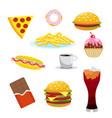 set harmful foods chocolate and cola hamburger vector image
