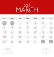 2016 calendar monthly calendar template for March vector image vector image