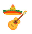 acoustic guitar sombrero string instruments vector image
